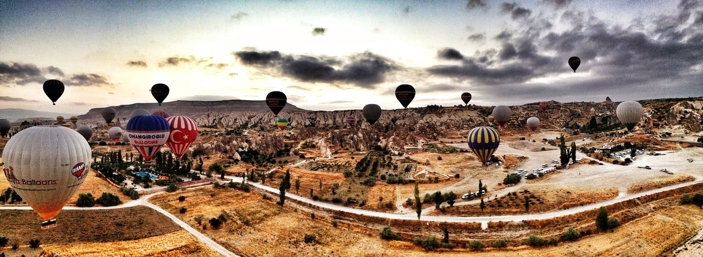 Landscape Cappadocia Baloons Panorama