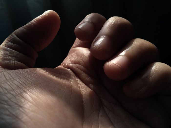 Close-up of hand indoors
