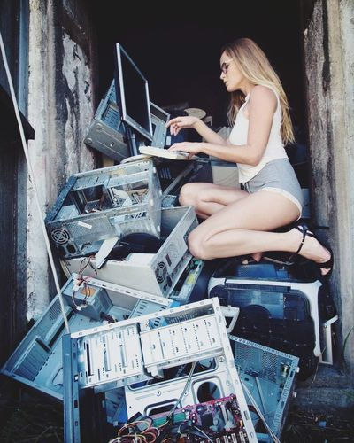 Technology Wasting Computer Only Women Laptop Technology One Woman Only Wireless Technology One Person Adult Adults Only Full Length Computer Keyboard People Old-fashioned Using Laptop Sitting Young Adult One Young Woman Only Indoors  DayElectronic Circuit Maintenance Engineer Secretary Sexywoman