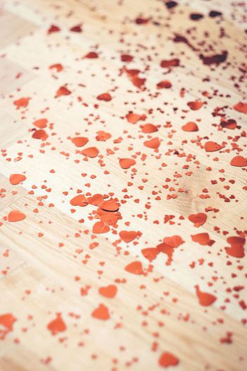 Close Up Close-up Confetti Day Floor Heart Heart Shape Heartbeat Moments Hearts Indoors  Konfetti Love Lovelovelove Lovely Macro No People Red Red Red Color View From Above