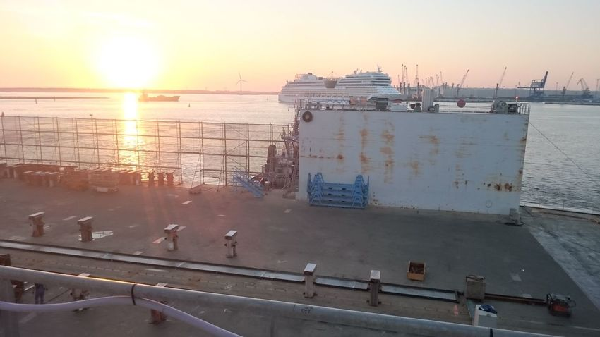 Cruise Ship Dock Docked Docks Dockside High Angle View Industry No People Outdoors Passenger Craft Ship Sunset