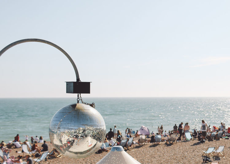 Beach Beauty In Nature Brighton Day Disco Ball Discoball Horizon Over Water Idyllic Leisure Activity Lifestyles Nature Ocean Outdoors Parasol Scenics Sea Shore Sky Tourism Tranquil Scene Tranquility Travel Destinations Vacations Water Summer Exploratorium