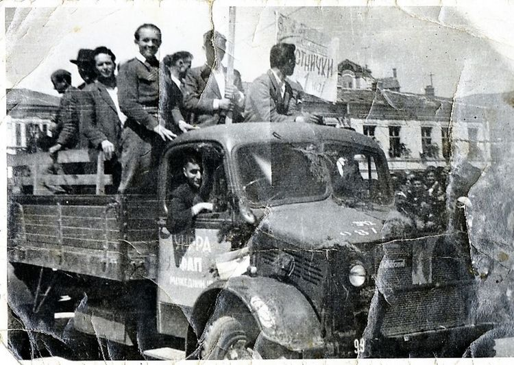United Nations Relief and Rehabilitation Administration Truck with people on it. Macedonia ,1950`s Relief UN UNRRA Food Help Historic History People Rehabilitation Truck Vintage Photo Ww2