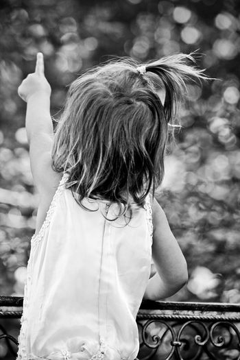 Rear View Of Little Girl Pointing Towards Lake
