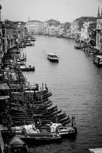 High angle view of boats at grand canal in city