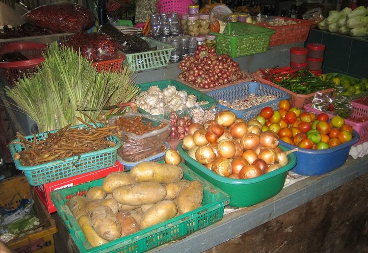 Food for sale at market stall