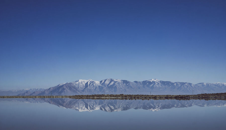 Idyllic Shot Of Mountains Reflection In Sea Against Clear Blue Sky