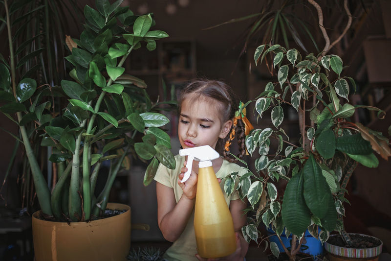 Portrait of girl holding potted plant