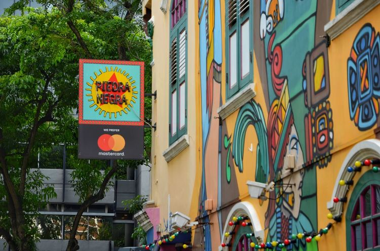 Haji Lane, Singapore Colourful Singapore Building Exterior Architecture Built Structure Multi Colored Day Outdoors Low Angle View City No People