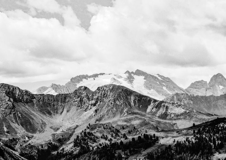 Dolomites in Black and White EyeEm Best Shots EyeEm Nature Lover EyeEm Best Shots - Nature EyeEm Best Shots - Black + White EyeEm Selects Mountain Beauty In Nature Nature Sky Scenics Landscape Mountain Range No People Tranquil Scene Tranquility Day Physical Geography Cloud - Sky Outdoors Snow