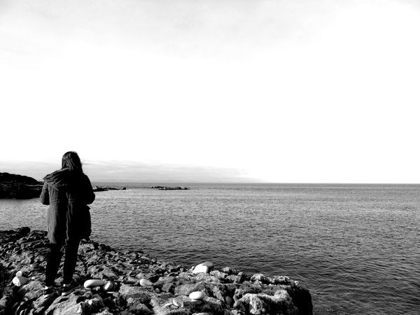 Looking out over the sea (B/W version) B/w B/w Daily B/W Photography Beauty In Nature Calm Day Eye Em Scotland Horizon Over Water Idyllic Looking At View Nature Ocean Outdoors Relaxation Rock - Object Scenics Scotland Sea Sky Solitude Standing Tranquil Scene Tranquility Uk Water