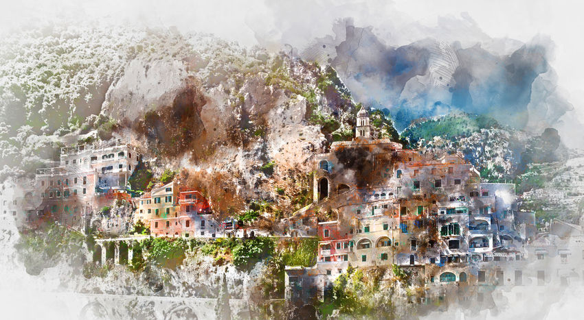Digital watercolor painting of Amalfi. Amalfi is a charming, peaceful resort town on the scenic Amalfi Coast of Italy. Amalfi Coast Digital Drawing Salerno Watercolour Architecture Cliff Coastal Digital Art Digital Illustration Digital Painting Digitally Altered Digitally Generated Digitally Generated Image Illustration Italy Landscape Mountain Nature Outdoors Painting Town Village Watercolor Watercolor Painting Watercolour Painting