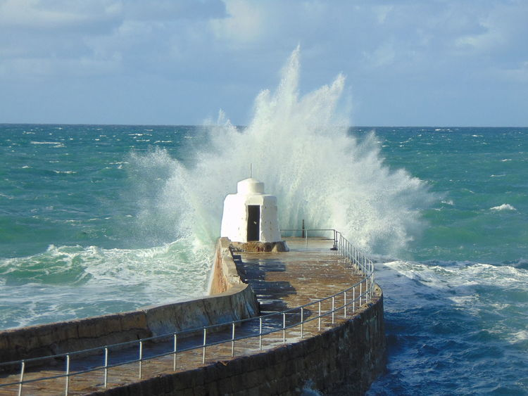 Huge tide batters portreath harbour wall High Tide Taking Photos Check This Out Hello World Cornwall Truro Portreath Waves, Ocean, Nature Harbour Tide Water High Storm Sea Beach Cornish Coast Coastal Feature Coast Splashing Rushing