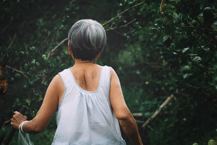 Rear view of woman standing against trees