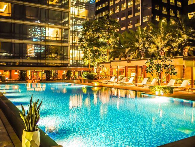 BonifacioGlobalCity BGC Shangri-La Samba Swimming Pool Water Night Illuminated Architecture Building Exterior Luxury Hotel Reflection Luxury Hotel No People Built Structure