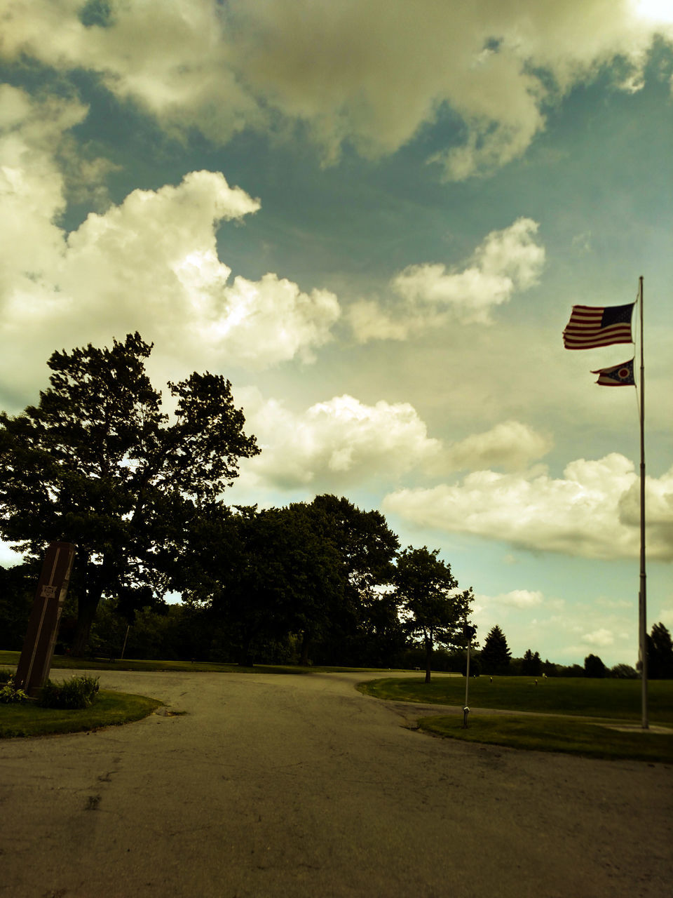 tree, flag, sky, cloud - sky, no people, nature, tranquility, scenics, outdoors, tranquil scene, beauty in nature, landscape, day, patriotism, grass