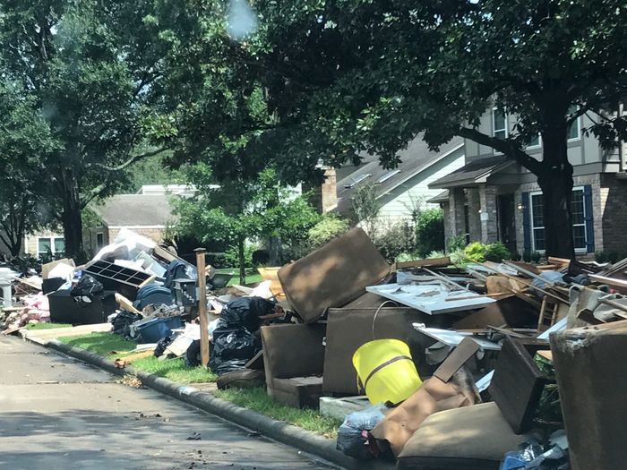 Houston Texas after Harvey Working Day Trash Flooded Houston
