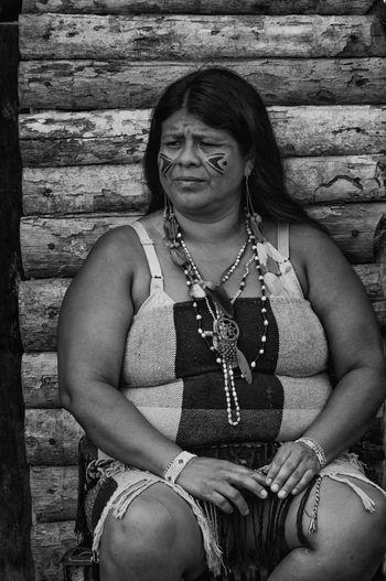 Retratos Guaranis. Indian Nature Rio Silveira Indian Reservation Travel Photography Aldeia Guarani Black And White Day Front View Guarani Indian Guarani Village Guarani Woman Indigenous Clothing Indigenous Necklace Indigenous Reservation Indigenous Woman Lifestyles Necklace One Person People Portrait Praia De Boraceia Real People Reserva Indigena Rio Silveira Young Adult