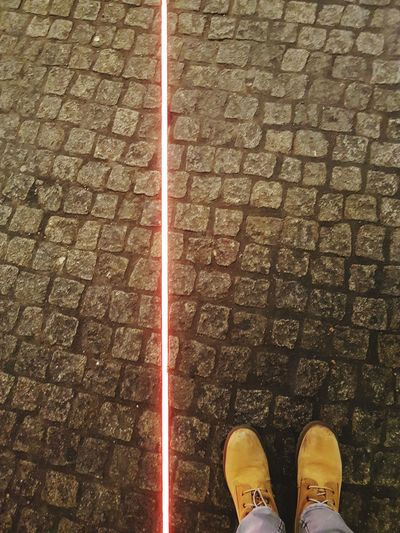 Red Led Light LED Light Cobblestones Shoe Low Section High Angle View One Person Human Leg Standing Outdoors AI Now EyeEm Ready   Visual Creativity