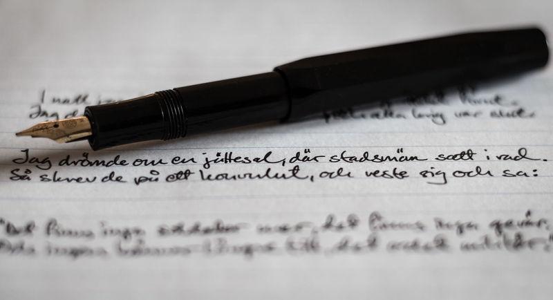 Lyrics on paper Close-up Fountain Pen Indoors  Lyrics No People Paper Swedish Text