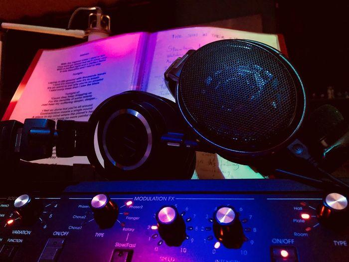 Recording Studio IPhone X Senheiser Senheiser HD 650 AudioTechnicaHeadphone Audiotechnica ATH M50x Korg SV1 Music Arts Culture And Entertainment Indoors  Technology No People Communication Audio Equipment Illuminated Night Record Equipment Sound Recording Equipment Lighting Equipment Electrical Equipment