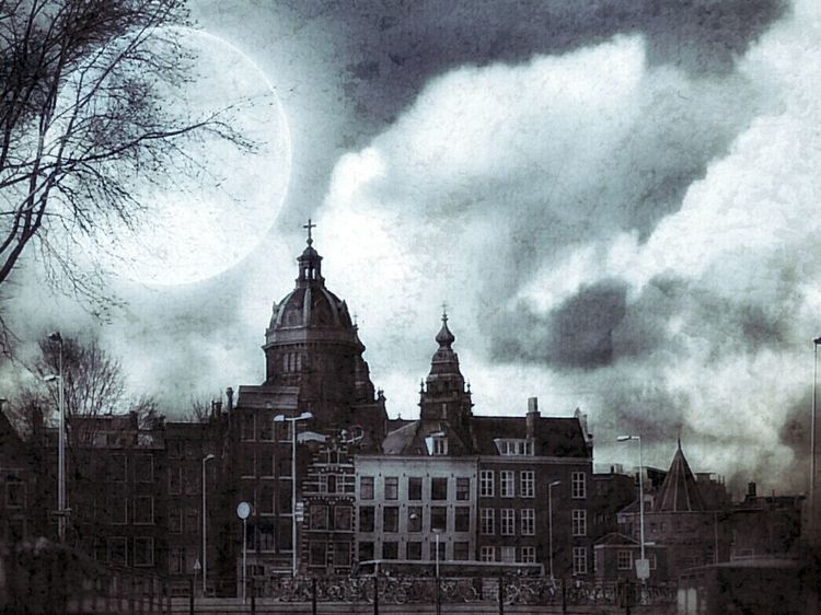Spooky Amsterdam Check This Out Photography EyeEm Gallery EyeEm Best Shots Hello World Art Atmosphere EyeEm Best Edits Making Art ArtWork Artistic City Street Houses Moonlight Surrealism Fantasy Dark Art Backgrounds Popular Photos