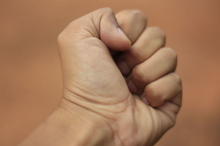 Human hand making fist