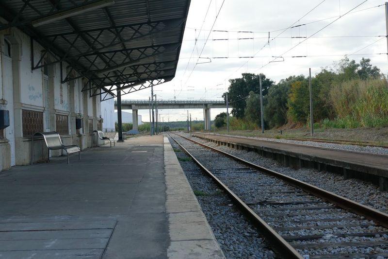 Empty Portugal Alcacer Do Sal Rail Transportation Railroad Track Track Transportation Sky Day No People Railroad Station Platform