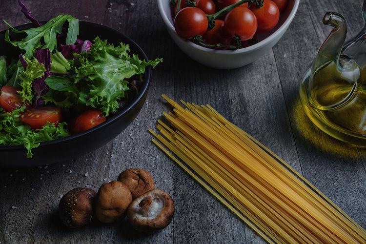Black Food Freshness Green Color Italian Italian Food Oil Olive Red Salad Spaguetti Table Tomato Wood Yelow