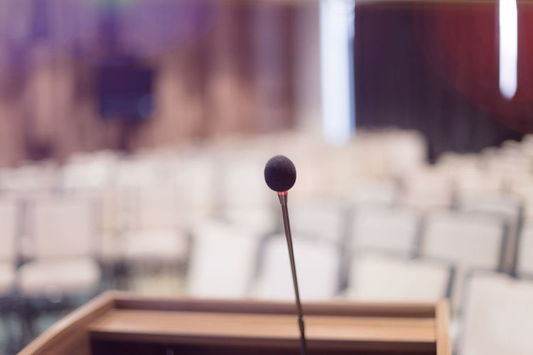 Close-up of microphone in conference room