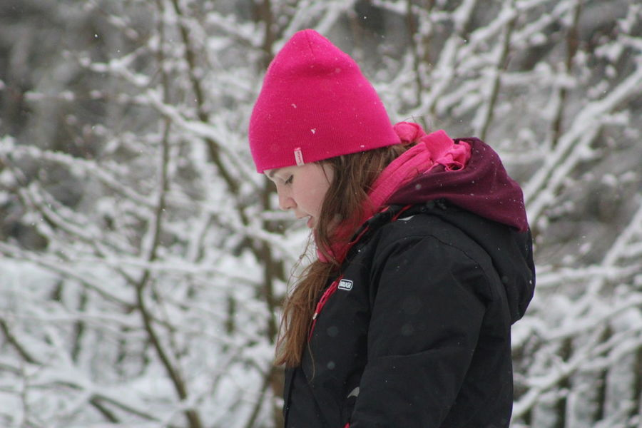 Cold Temperature Focus On Foreground Headshot Little Girl Little Woman Nature One Person Outdoors Pink Pink Color Pink Hat Real People Side View Snow Snowing Snowtime Tree Warm Clothing Winter Young Adult
