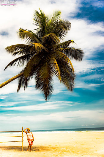 Assinie IvoryCoast Beach Cloud - Sky Day Full Length Lifestyles Moroccan Woman One Person Outdoors People Real People Sea Standing Tree Vacations Water