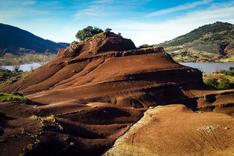 Beauty In Nature Day Finding New Frontiers France Hill Hills Hills And Valleys Hilltop Landscape LanguedocRoussillon Mountain Nature No People Outdoors Red Soil Salagou Lake Scenery Scenics Sky