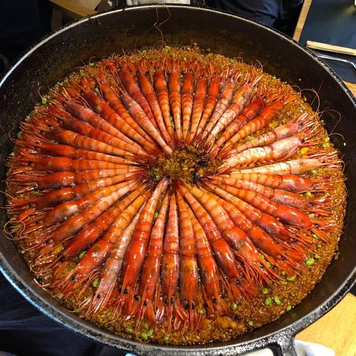 Paella Els Casals Spanish Food SPAIN Rice Seafood Seafoods Foodie Gambas De Palamos Gambas Prawns Paella Freshness Food And Drink Food No People Healthy Eating High Angle View Wellbeing Preparation  Cooking Pan Circle