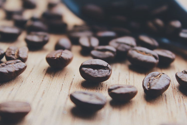 Close-up of cofee bean on table