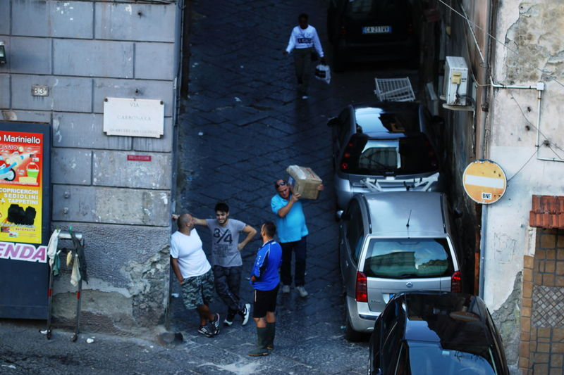 Adult Cars Day From Above  Full Length Italy Napoli October 2016 Outdoors People People Talking Road Streetlife Togetherness