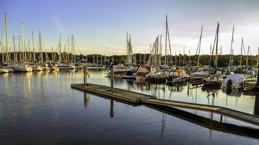 Aarhus Beauty In Nature Blue Boat Cloud - Sky Harbor In A Row Marina Mast Mode Of Transport Moored Nature Nautical Vessel No People Ocean Outdoors Reflection Sailboat Scenics Side By Side Sky Tranquil Scene Tranquility Transportation Water
