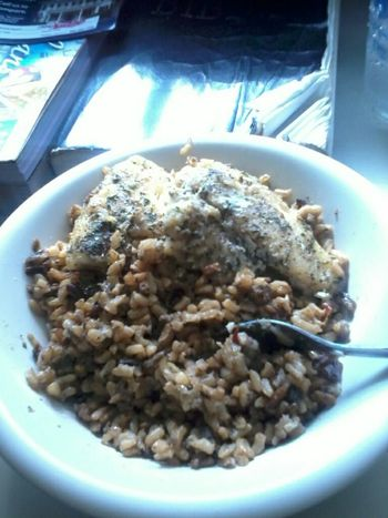 baked fish & dirty rice. yummy!!!!!