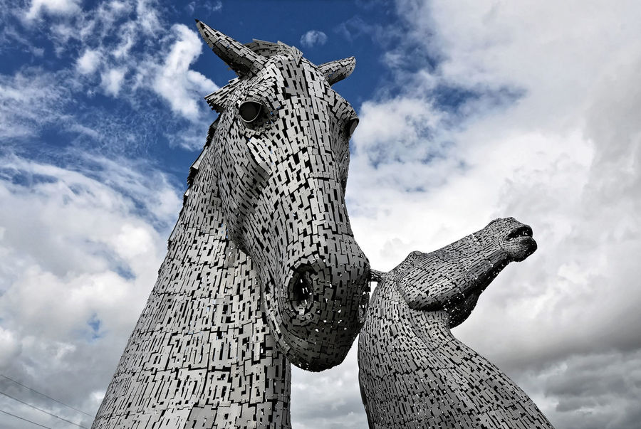 Kelpies Of Falkirk Scotland Close-up Cloud - Sky Day Low Angle View No People Outdoors Sky