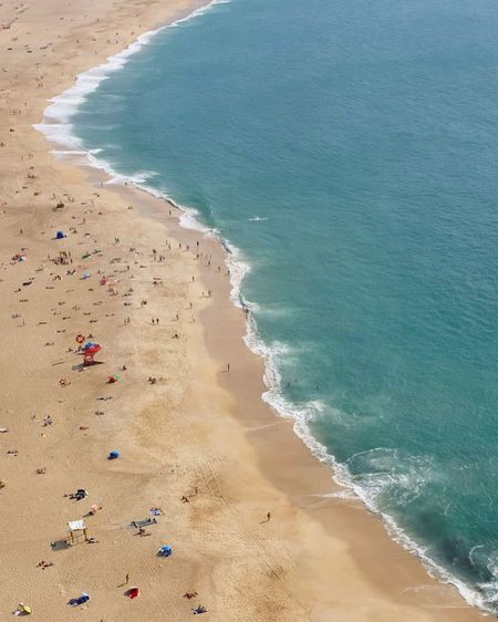 Aerial view of people enjoying at beach