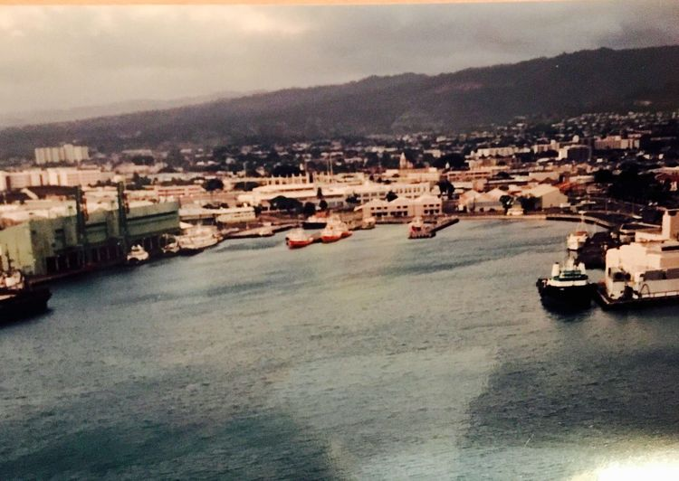 Honolulu Harbor near downtown Waikikki 1993. Hello World