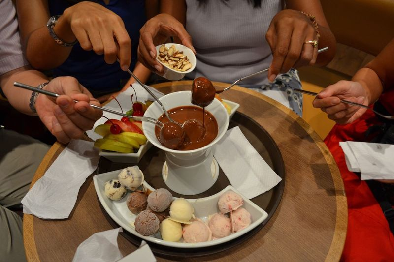 Chocolate Fondue Food And Drink Food Table Plate Freshness Human Hand Group Of People Lifestyles Wellbeing Hand EyeEmNewHere