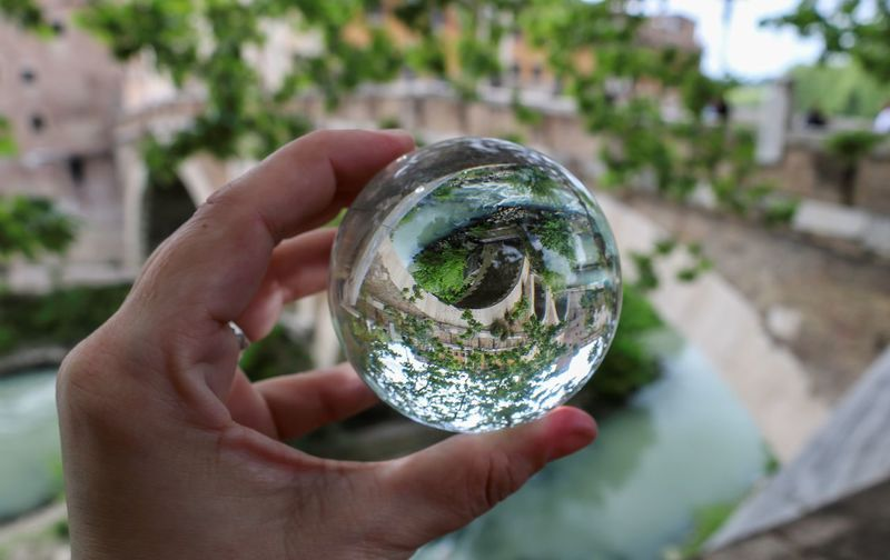 Rom Roma Rome Travel Photography Travelling Citytrip Close-up Crystal Ball Day Finger Focus On Foreground Glass - Material Hand Holding Human Body Part Human Hand Nature One Person Photography Photographylovers Real People Sphere Transparent Unrecognizable Person Upside Down