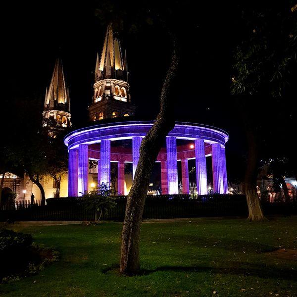 Purple Color Catedral De Guadalajara Guadalajara, Mexico Mexico Night Arts Culture And Entertainment Celebration Illuminated Built Structure