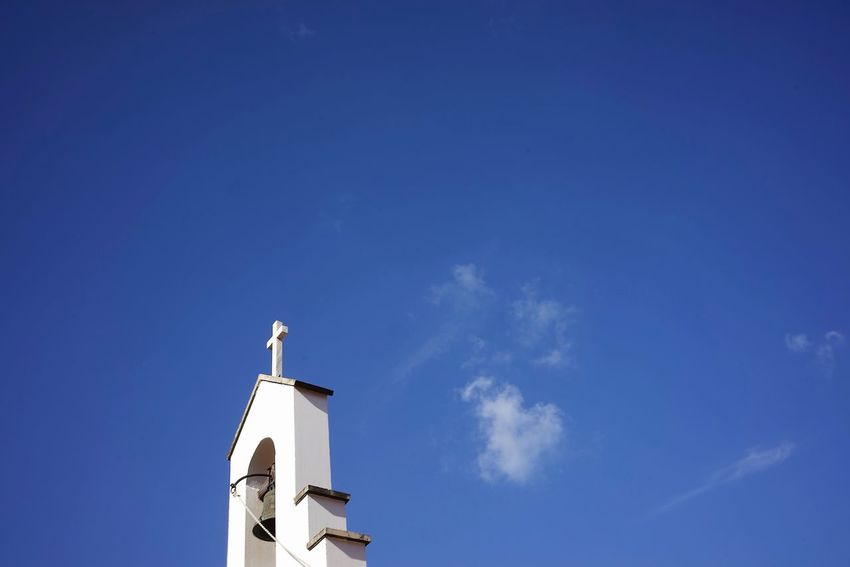 Church Bells Sky Low Angle View Blue Built Structure Architecture Building Exterior Religion Spirituality Cloud - Sky Nature Belief Tower No People Building Day Place Of Worship Outdoors