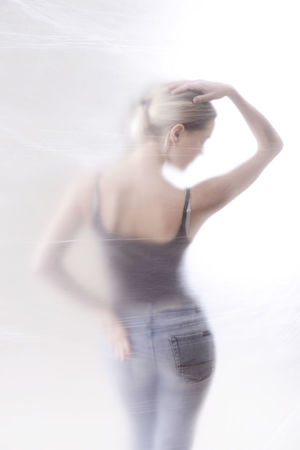 woman behind foil Anonymous Back Blond Blurred Depression Erotic_model Failure  Foggy Foil  Graceful Grief Jeans Mysteriously Rear View Sensual_woman Slim Teenager Unhappy Woman