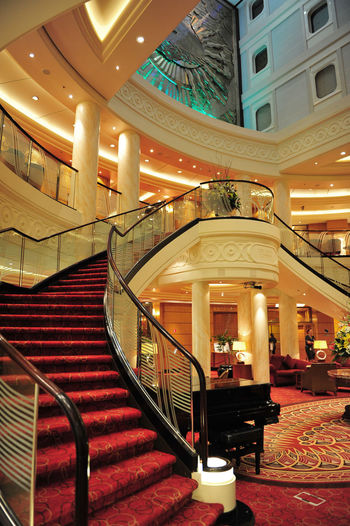 The Grand Lobby on HMS Queen Mary 2 - the epitome of 175 years of Cunard Architecture Grand Staircase Illuminated Indoors  Lobby Luxury Luxury Hotel No People Queen Mary 2 Staircase Steps And Staircases