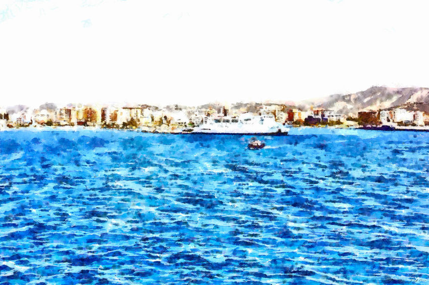 With the ship coming from Italy, I see Valona and the harbor pier from the sea Cityscape Art Beauty In Nature Blue Buildings Clear Sky Day Digital Art Digital Painting Landscape Mountain Nature Nautical Vessel Outdoors Scenics Sea Ship Water Watercolor Watercolor Painting Waterfront