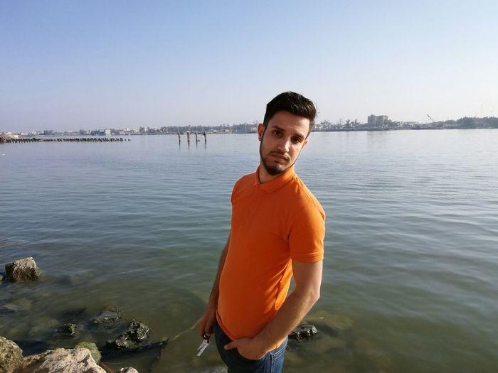 EyeEm Selects Water Sea Clear Sky Men Beard Standing Beach Macho Sky Horizon Over Water