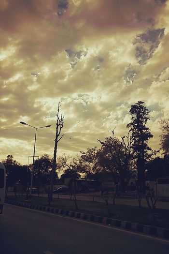 Tree Sunset Sky Cloud - Sky Outdoors Road Day Weather Nature Pakistan Mobilephotography Islamabad Freshness